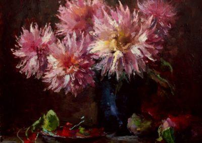 картина маслом Астры на столе