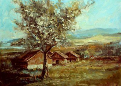 Картина маслом деревл пейзаж Кубре
