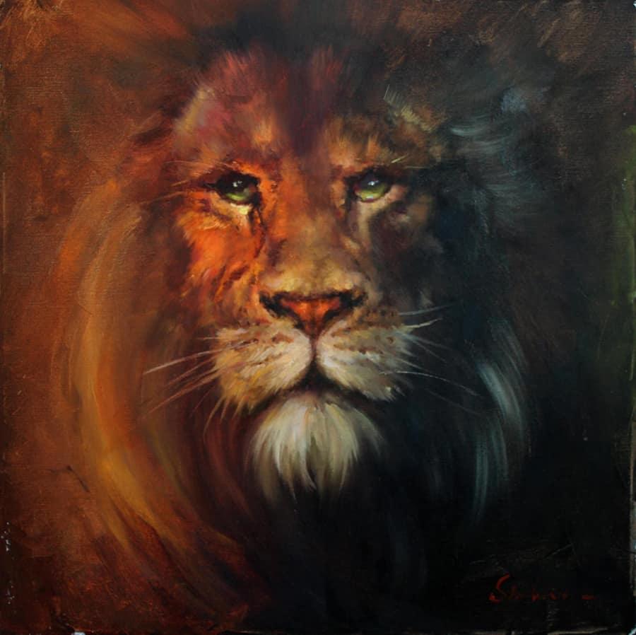 Картина маслом Лев