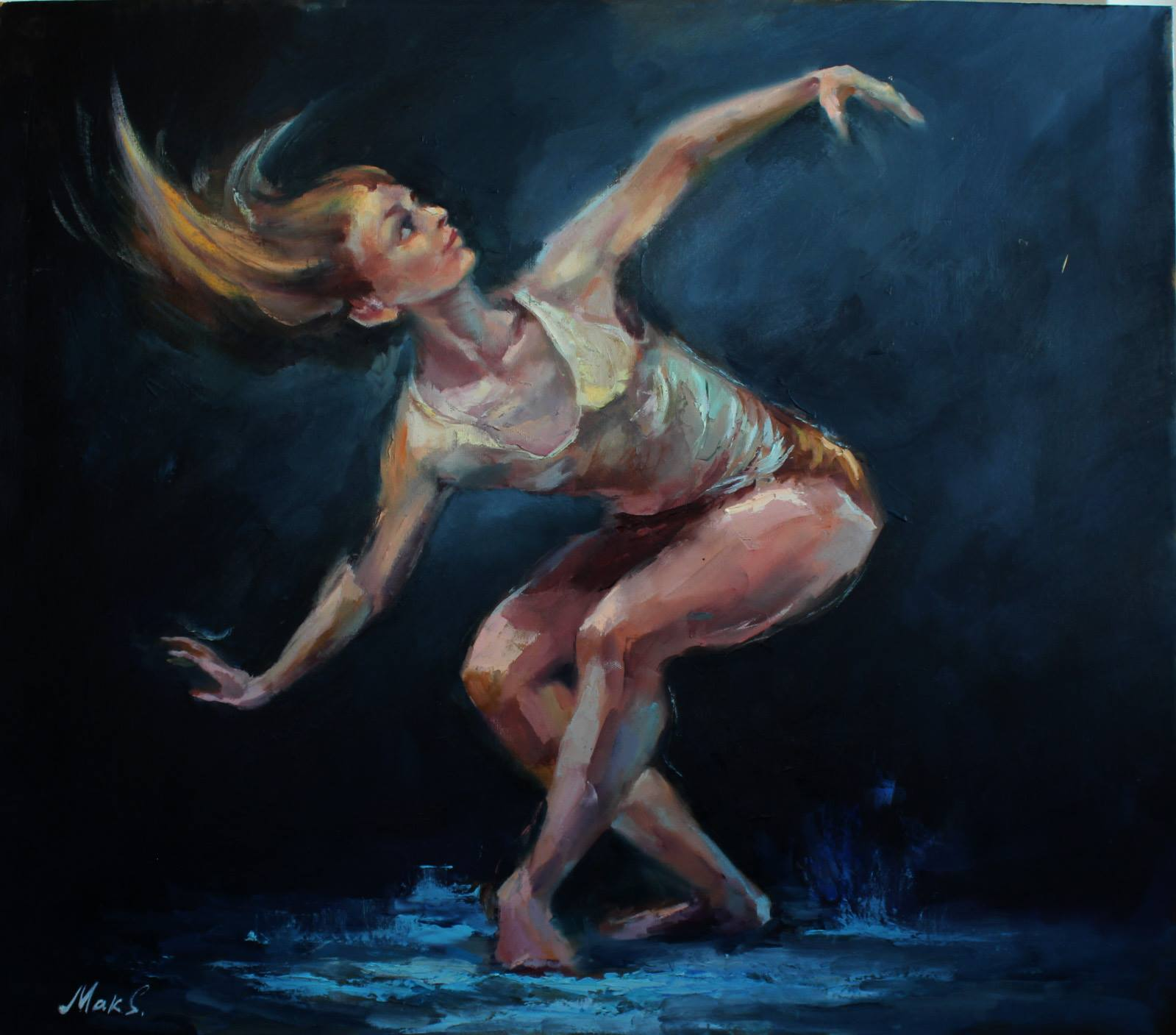 картина женщина ночью