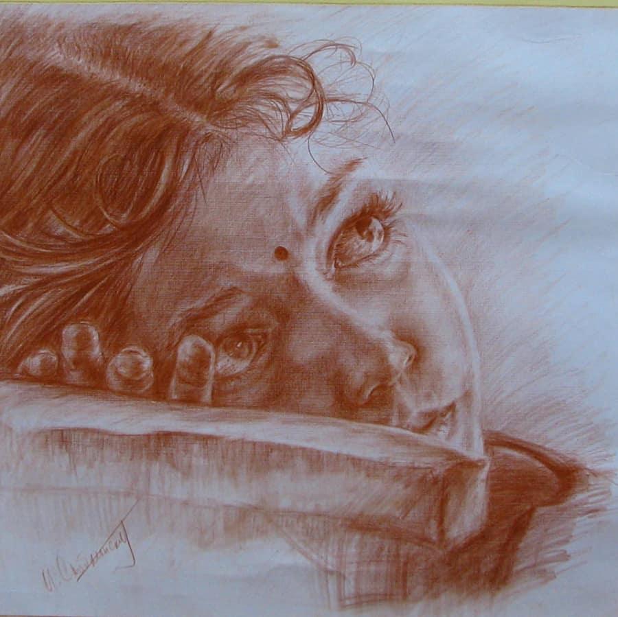 Картина карандашом милой девушки из Индии