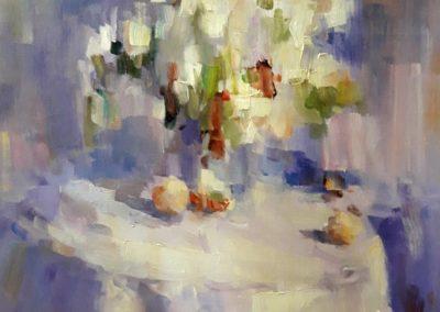 Белые цветы в дымке нарисованы маслом