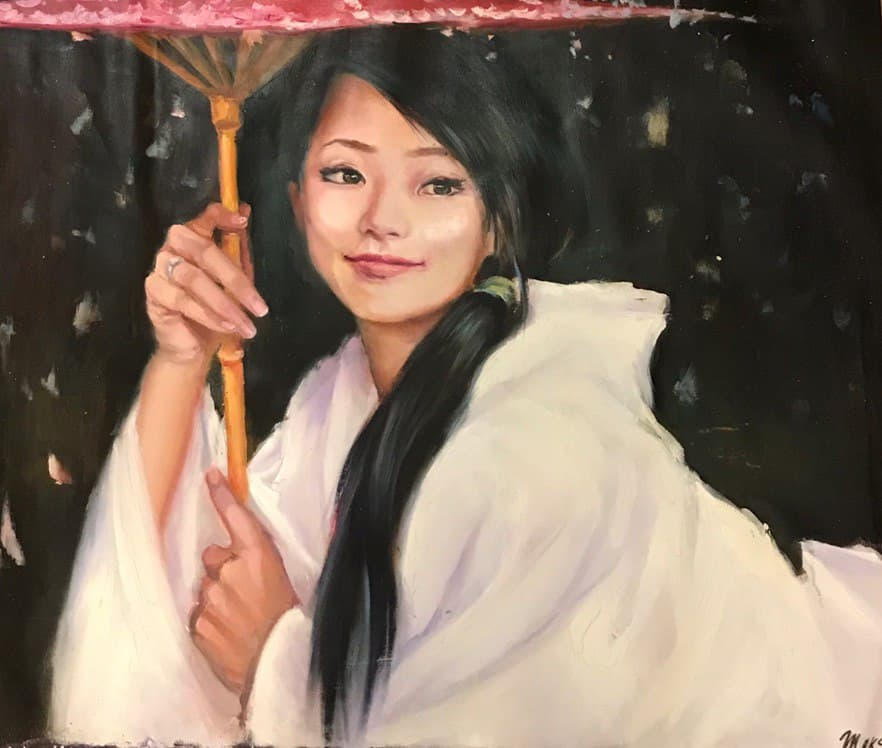 японка под зонтом. холст. масло