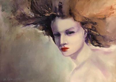 Портрет девушки со страстными губами.