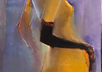 обнаженная девушка в черной перчатке. картина маслом