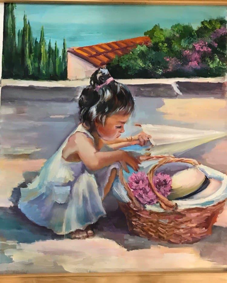 малышка с корзинкой. полотно маслом