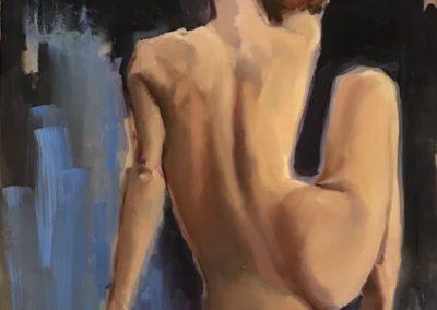 Картина маслом с обнаженной фигурой со спины