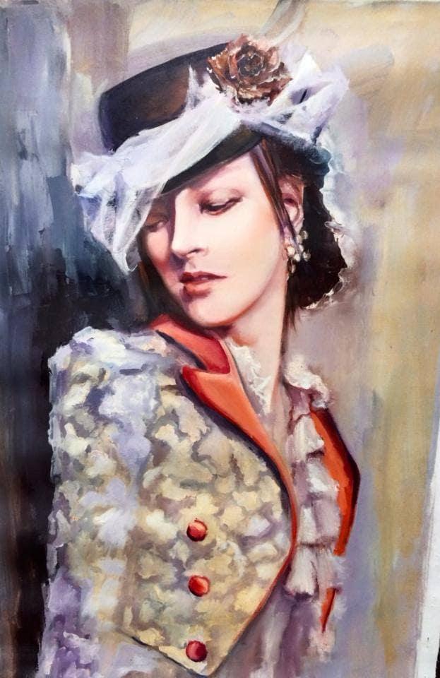 Картина маслом девушка в шляпке