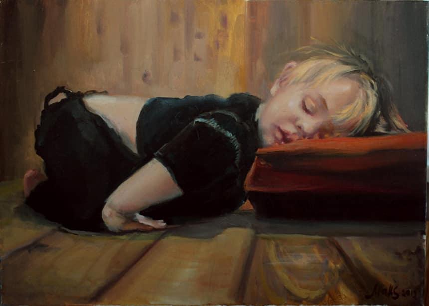 картина маслом спящего ребенка
