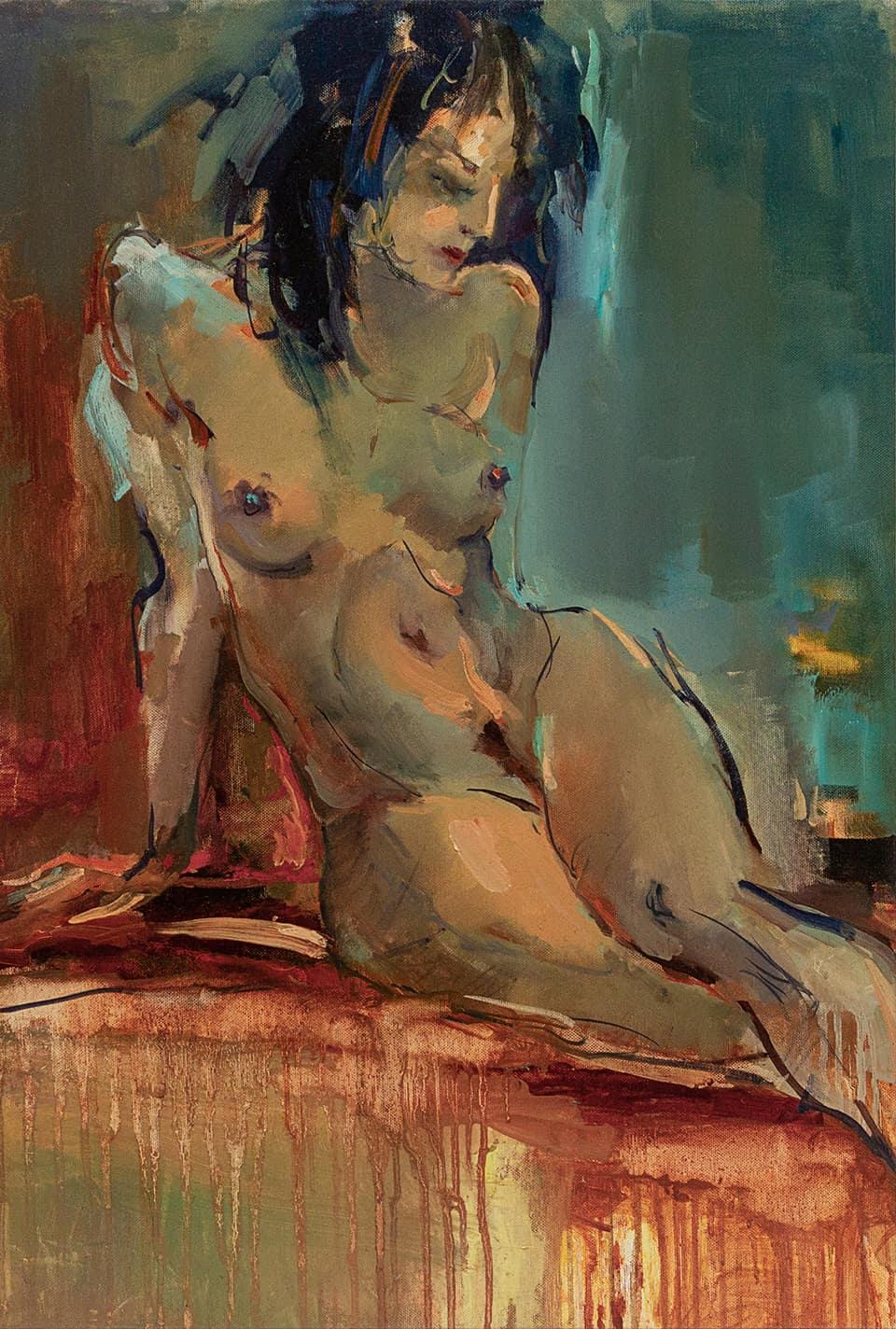 фигура женщины написана маслом