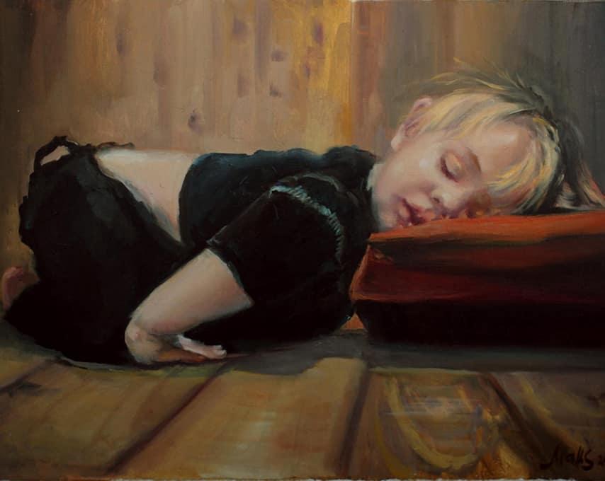картина маслом спящий ребенок