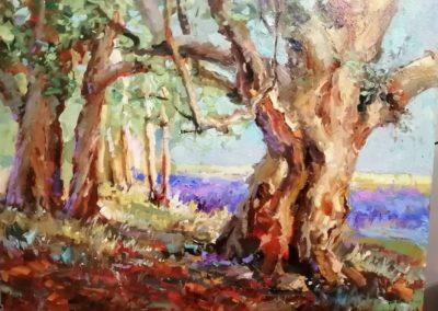 как нарисовать пейзаж маслом. видеоурок лес. дерево.лаванда