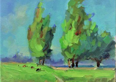 Зеленый луг .пейзаж маслом фото картины по видеоуроку
