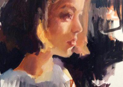 Портрет девушки маслом полутон. профиль . онлайн видеоурок