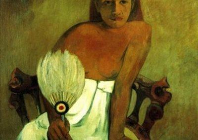 картина Гогена малом.Девушка с веером