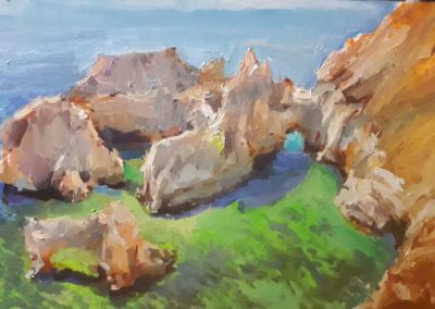 как нарисовать онлайн пейзаж.море.скалы